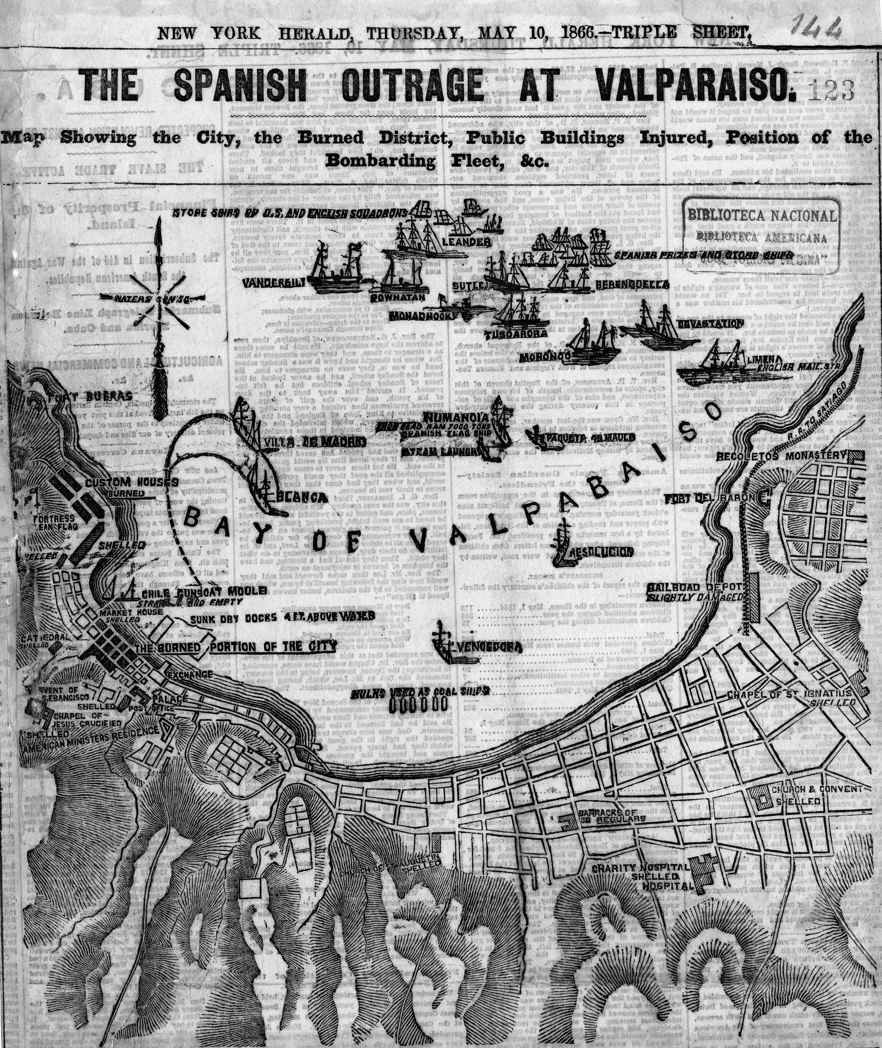 1866. Valparaíso Antiguo. South america and Chile