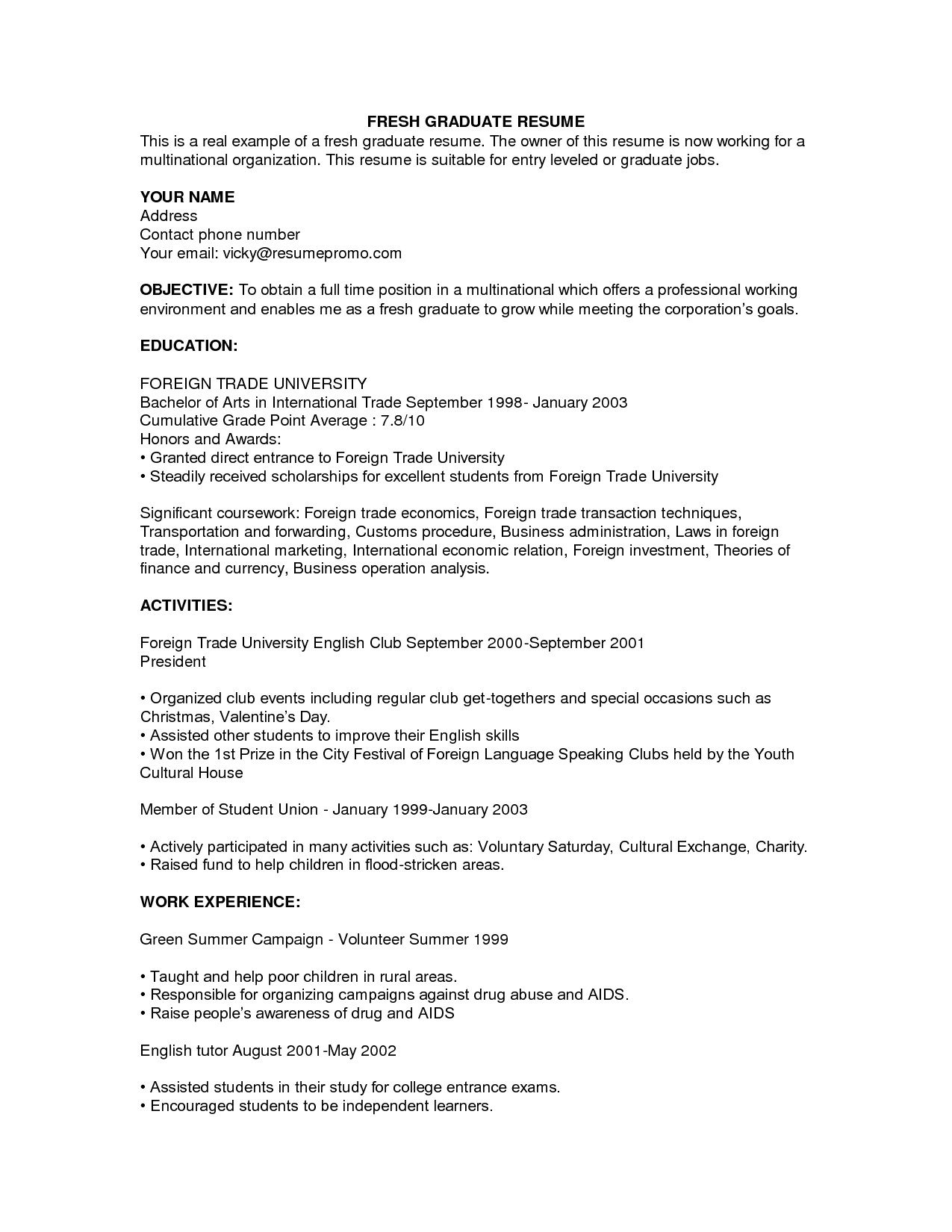 Example Of Resume For Fresh Graduate http