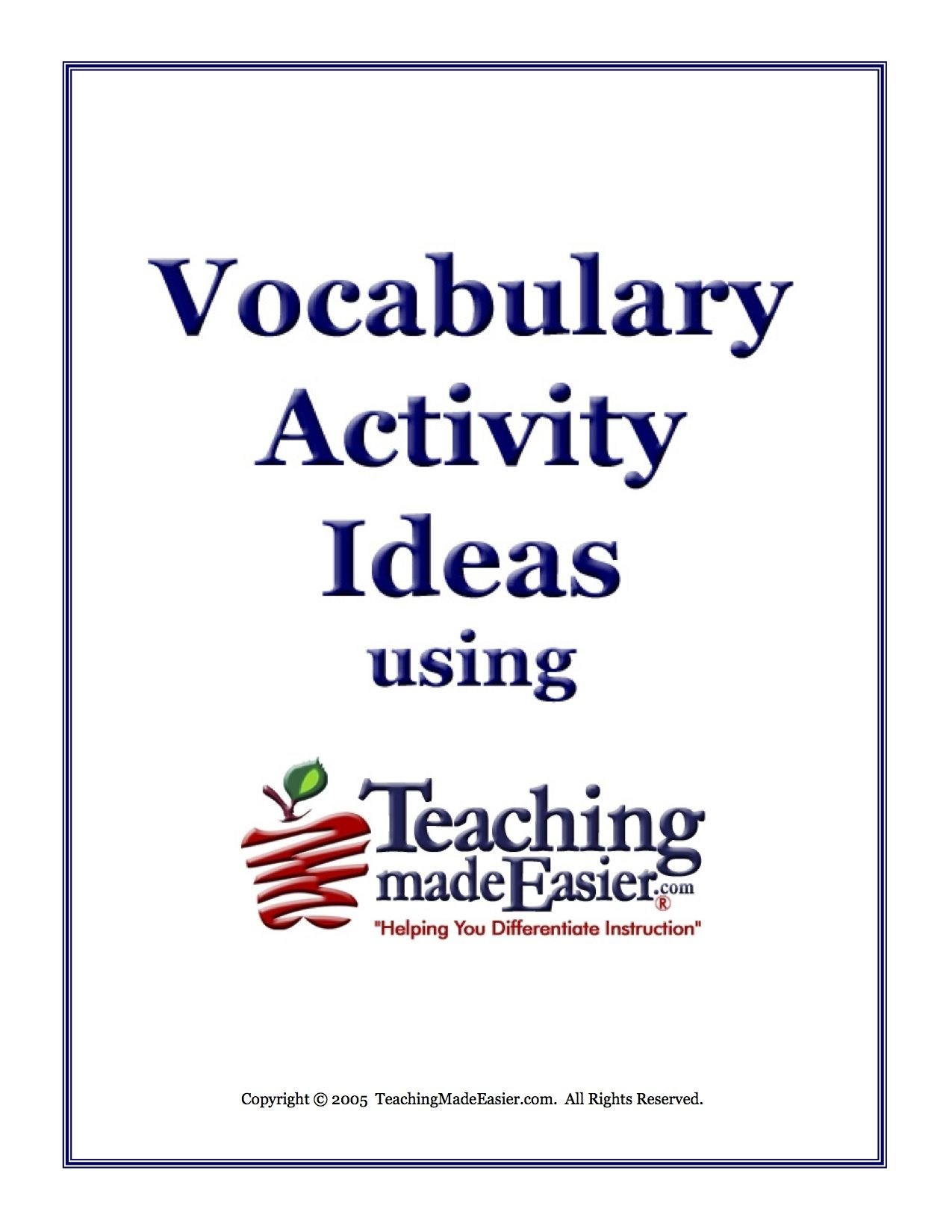 Vocabulary Activity Ideas And Lesson Plans Using Teachingmadeeasier Download The Free