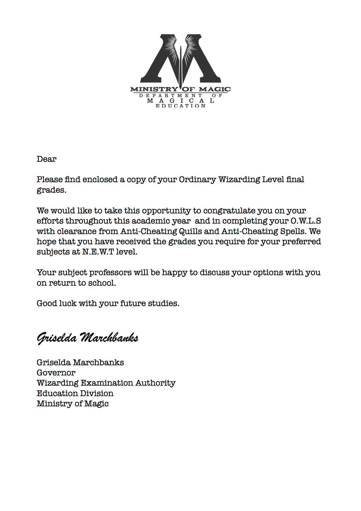 Harry Potter Cover Letter Received With O W L Results