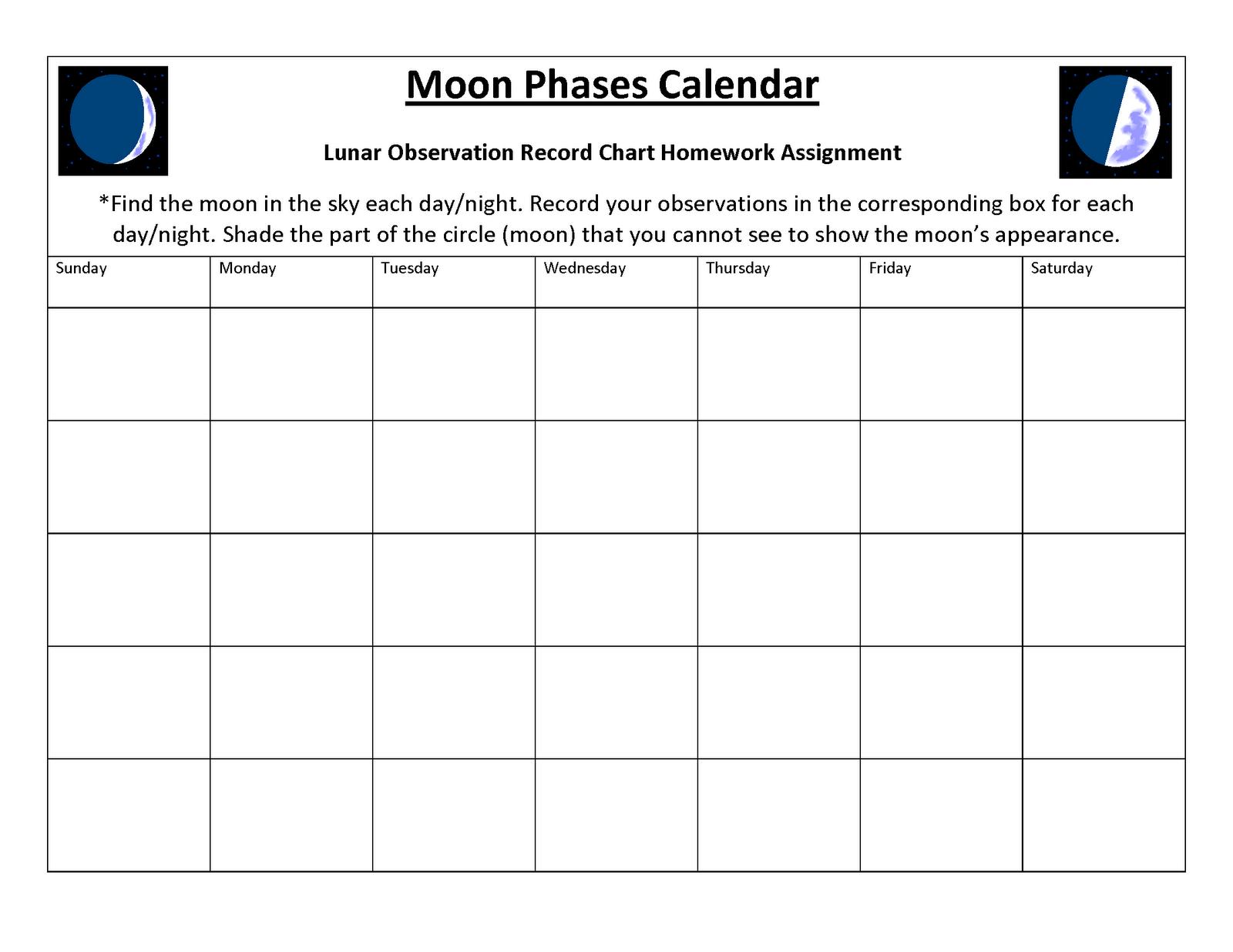 Moon Phases Blank Calendar