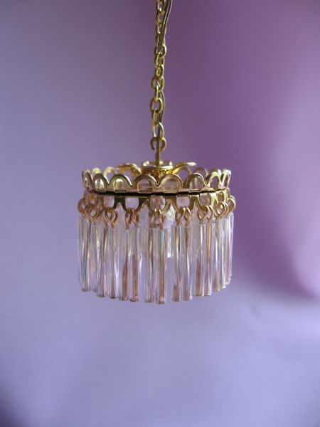 Dollhouse Doll House Miniature Electric Pee Crystal Chandelier Lamp
