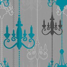 Wilko Chandelier Wallpaper Teal Grey Wp332112