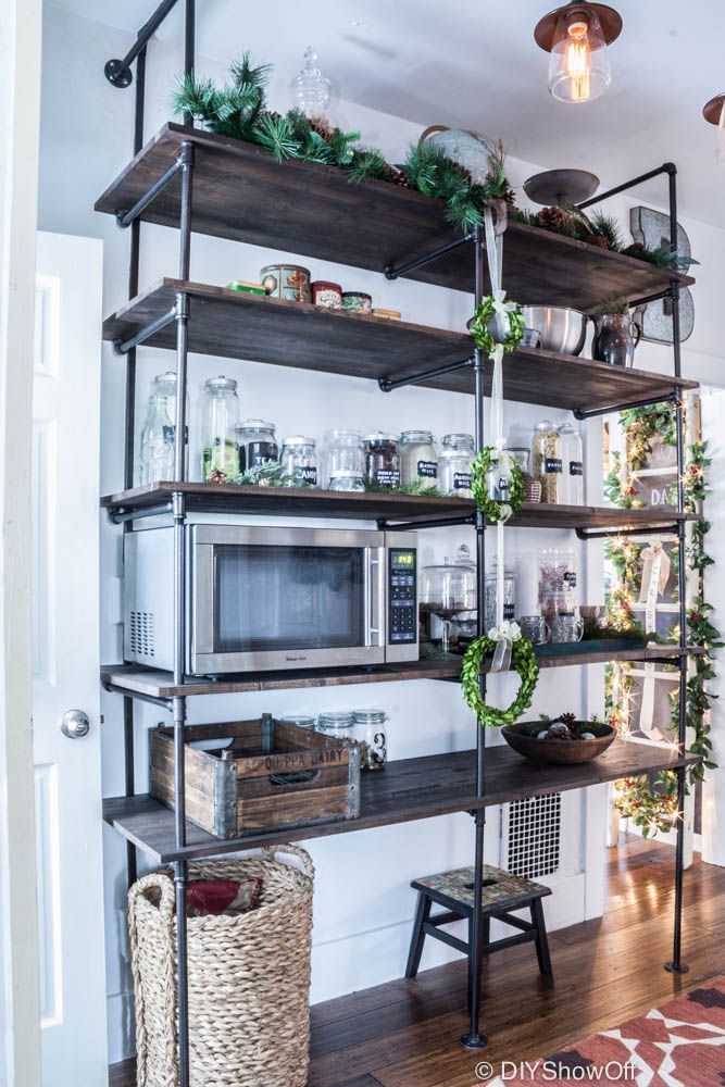 DIY Show Off Industrial farmhouse, Open shelving and