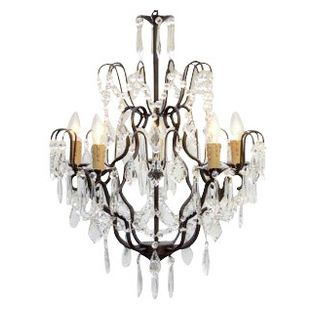 The Gallery Wrought Iron Crystalwag Plug In Chandelier 100 Crystalrought