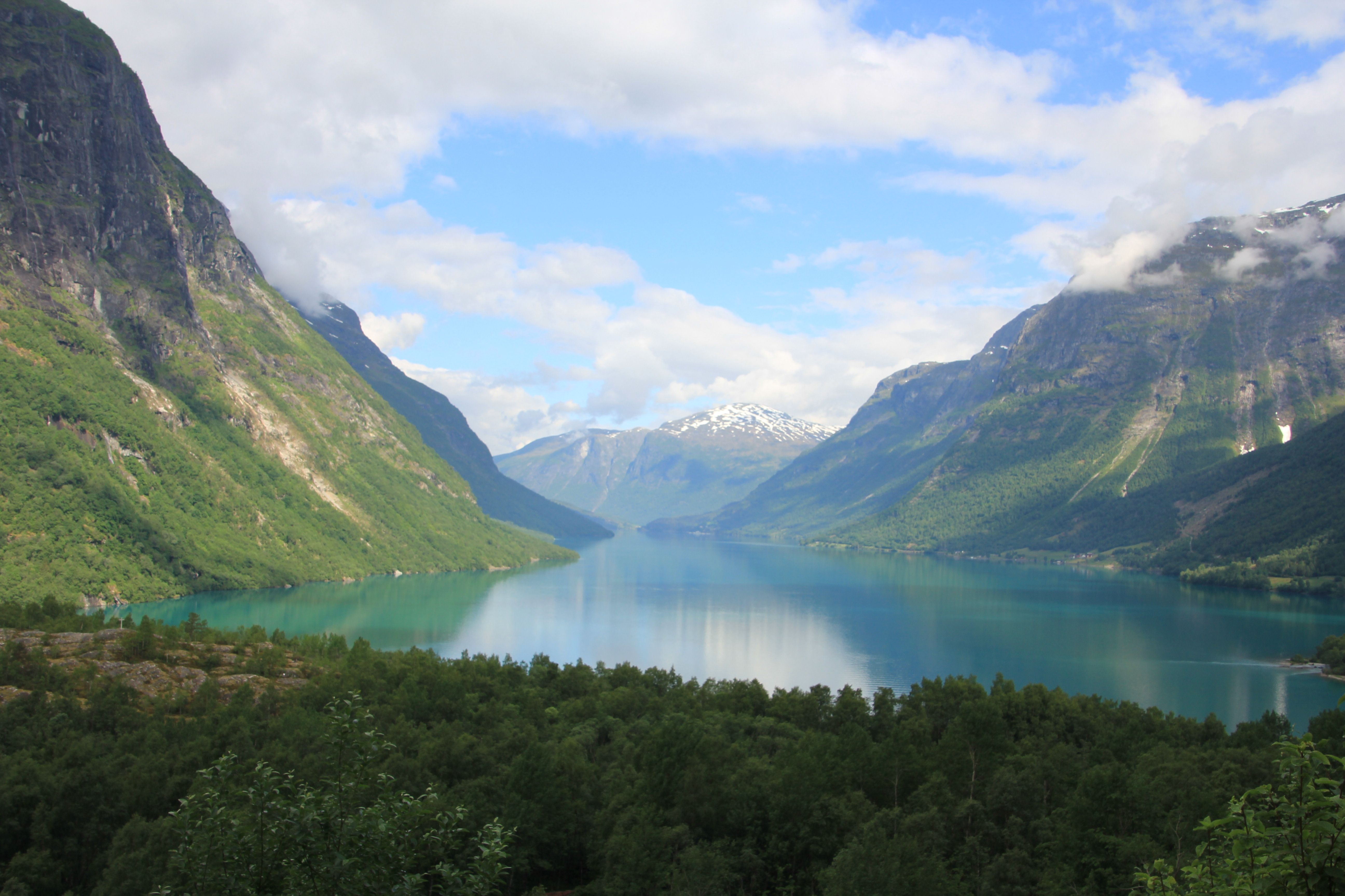The View Driving From Olden Norway To Kjenndalsbreen Glacier The Water Really Is That Blue