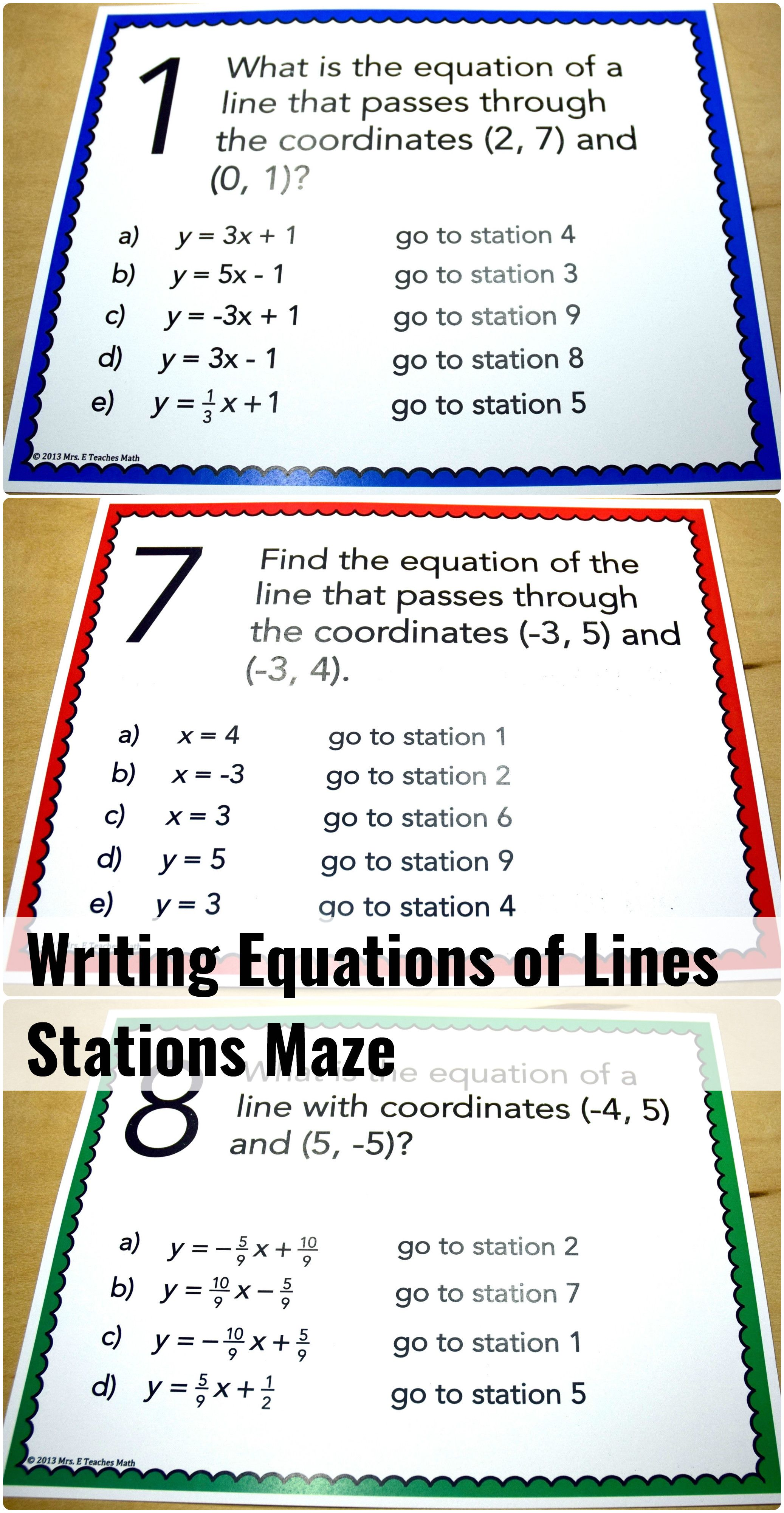 Writing Equations Of Lines Stations Maze Activity