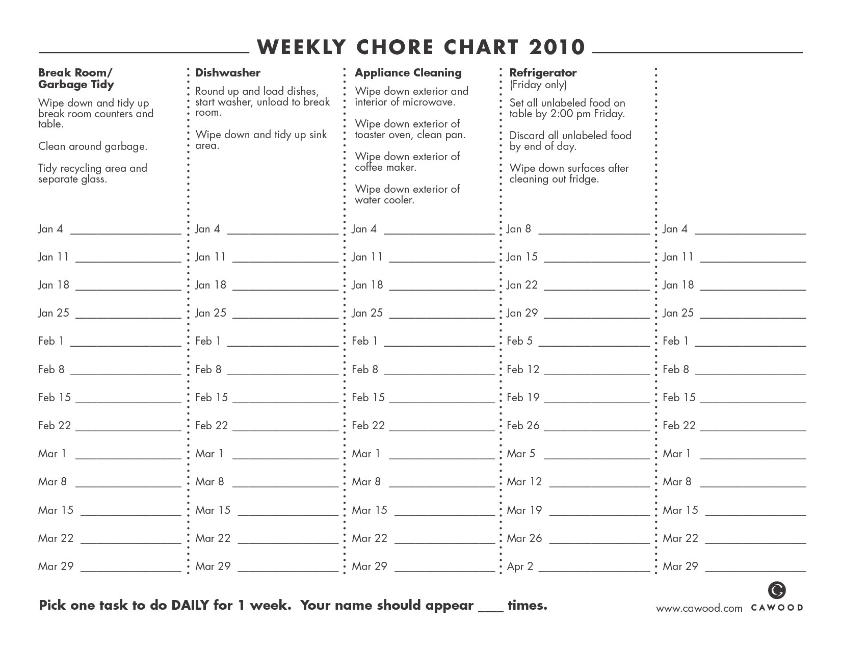 9 Best Images Of Printable Weekly Chore Chart
