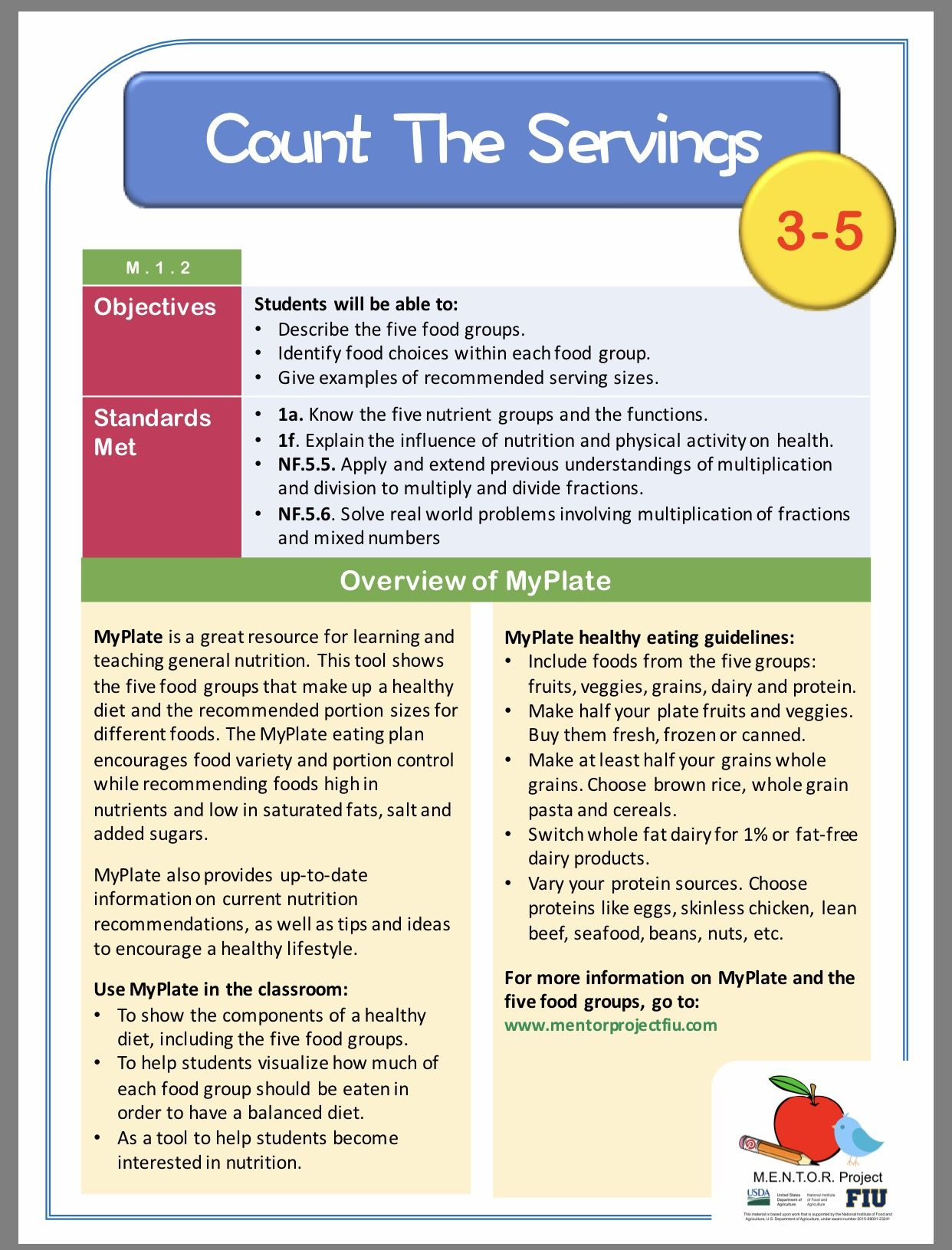 General Nutrition Math Lesson Plan For Grades 3 5