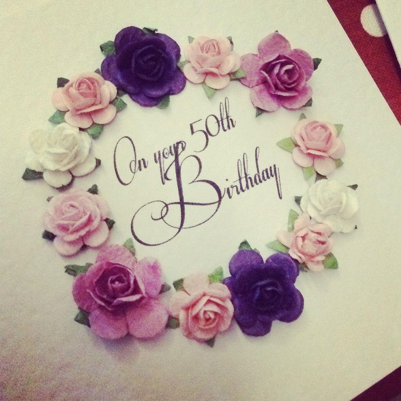 Handmade Happy 50th Birthday greeting card by OSONiA