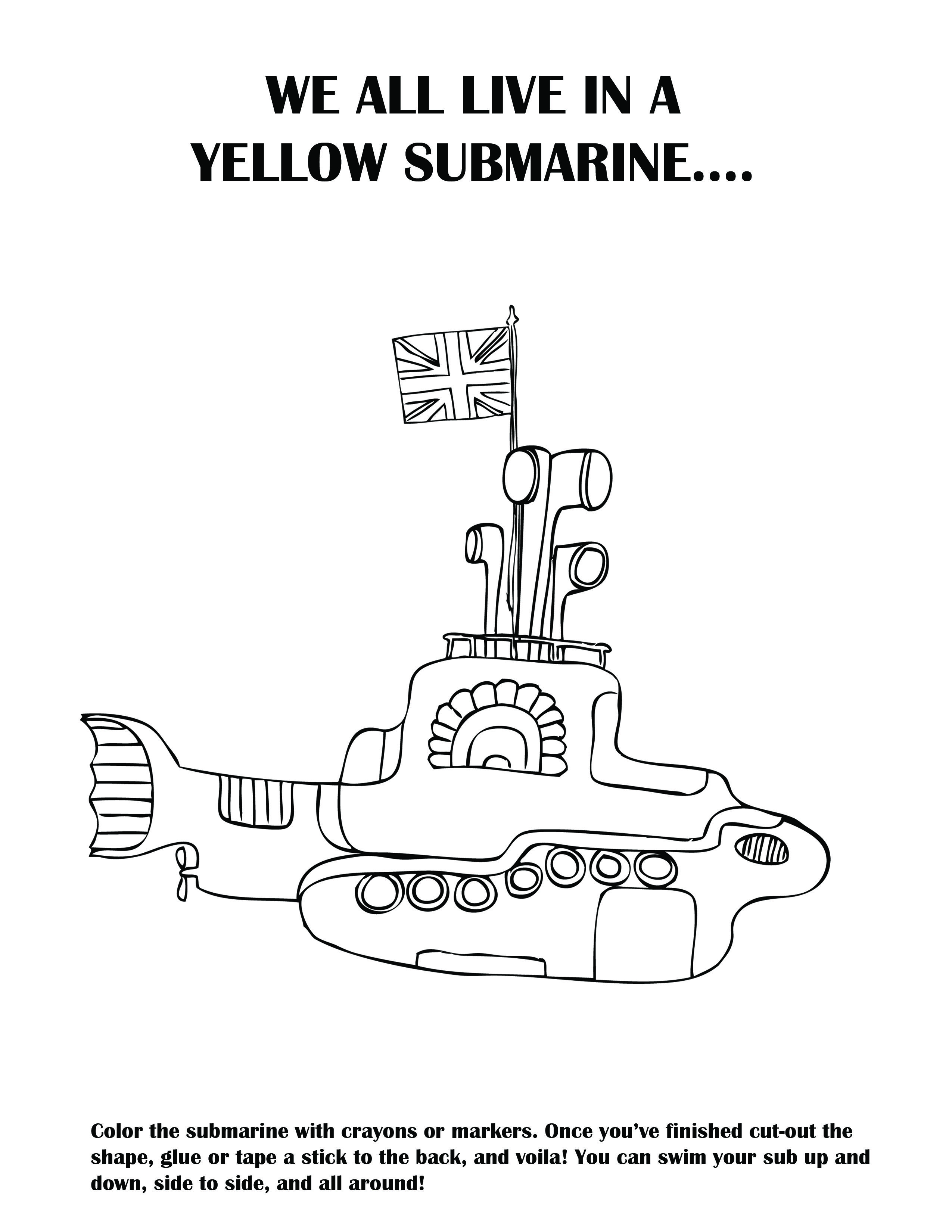 Diy A Yellow Submarine I Made This Activity Sheet For My