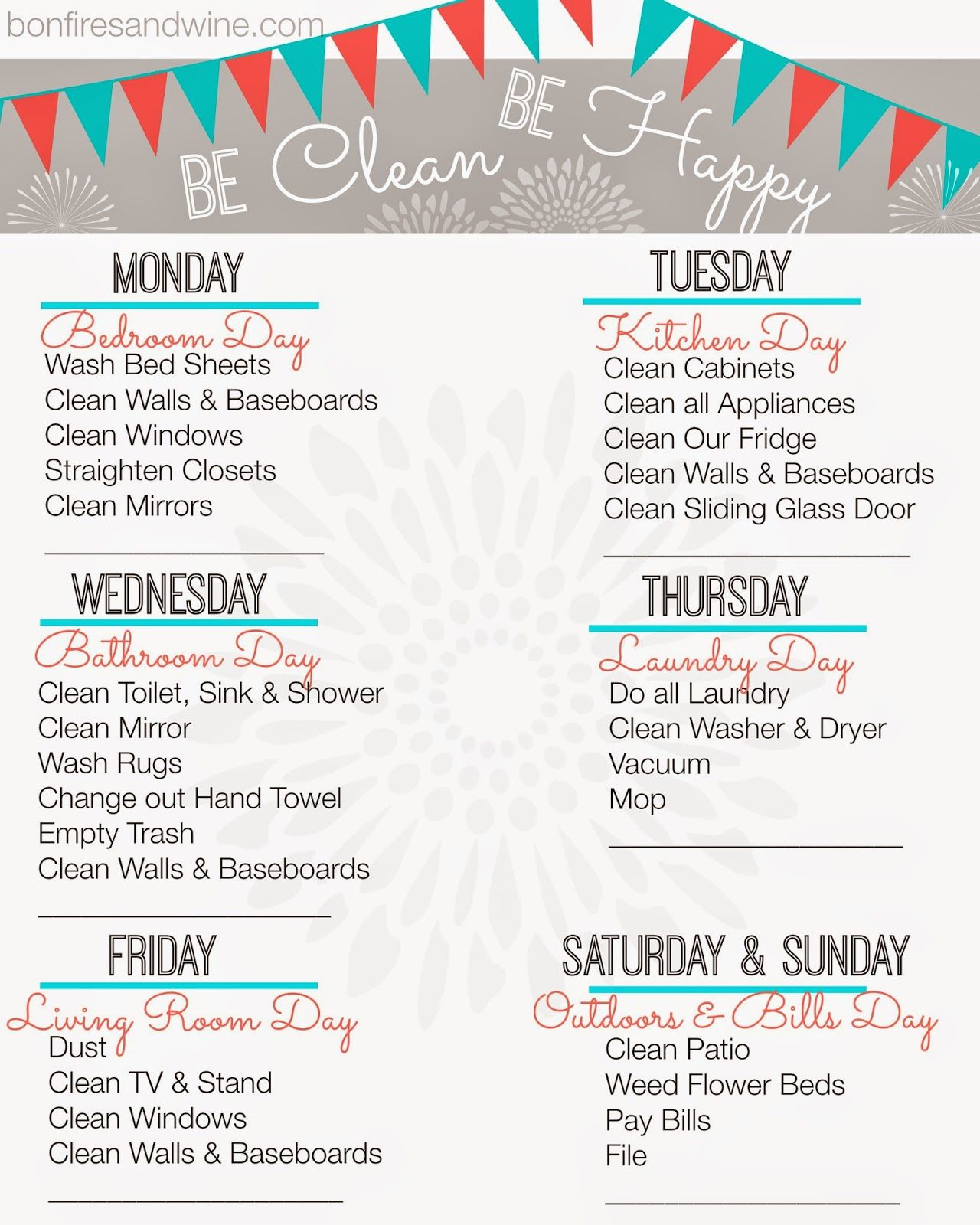 Find Your Favorite Printable Cleaning Schedule