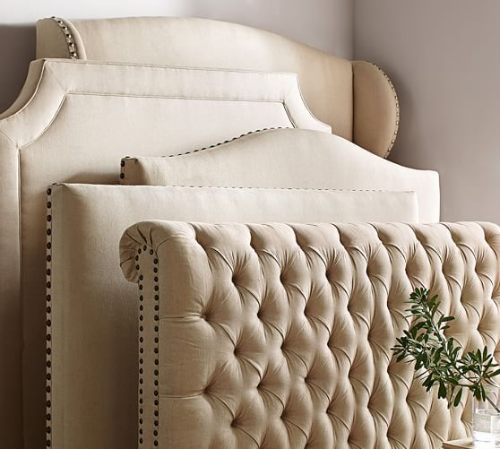 Raleigh Upholstered Nailhead Square Bed Headboard Pottery Barn