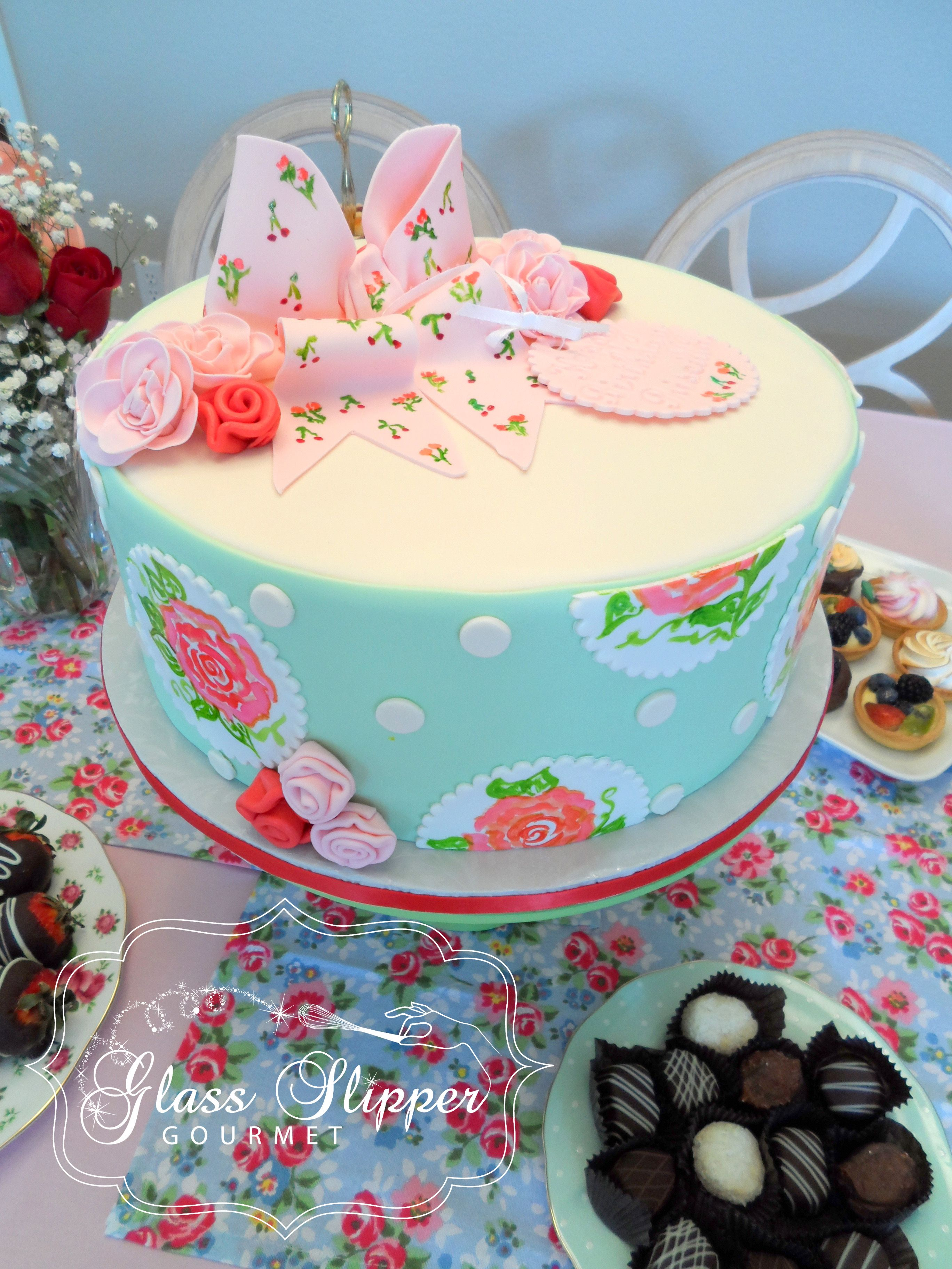 Priscilla S Rose Themed Tea Party Shower And Pedestal Cake