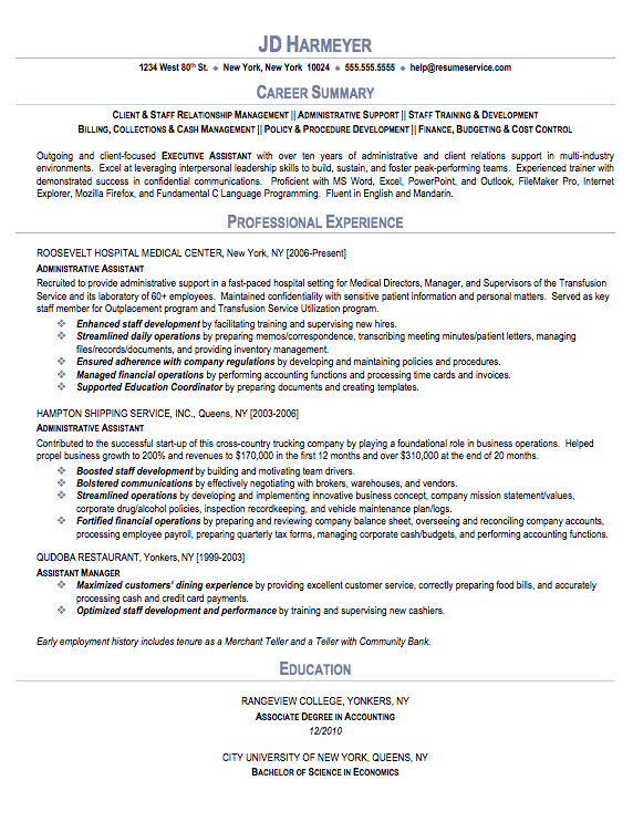 resume sample resume and administrative assistant on pinterest
