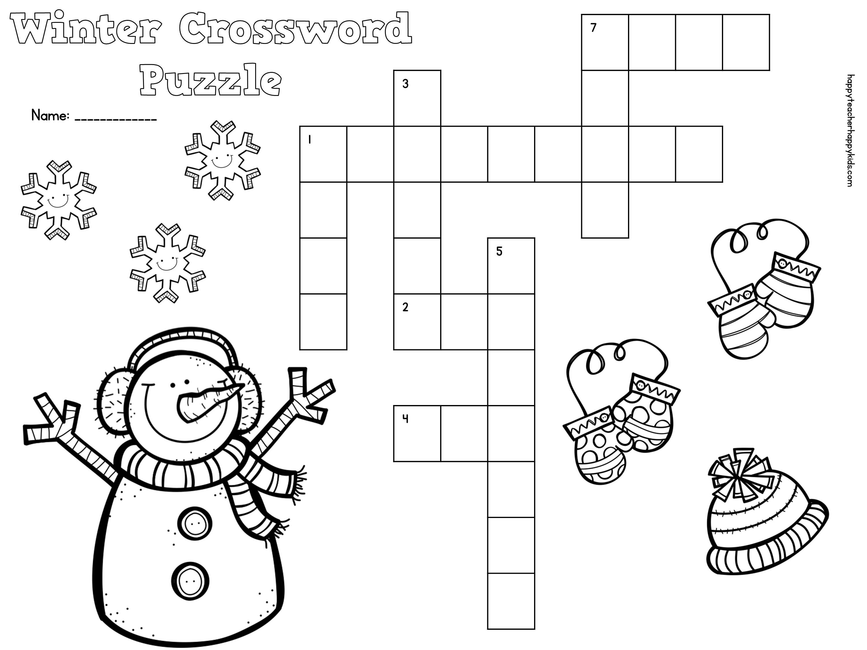 Free Winter Crossword Puzzle For Primary Students