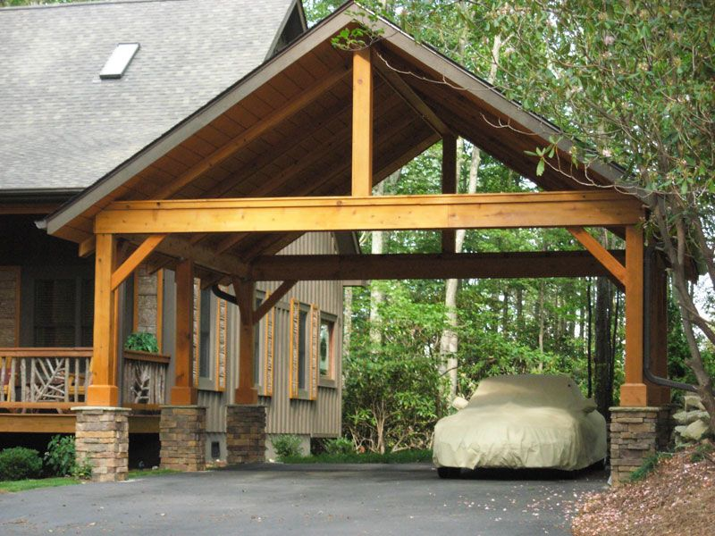 Carport with pitch roof, open gable timber frame, half
