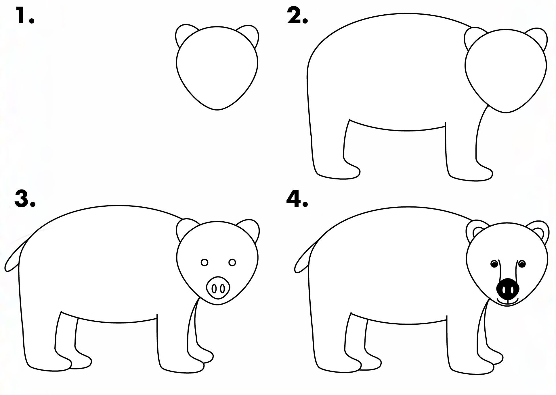 Learn How To Draw A Simple Bear