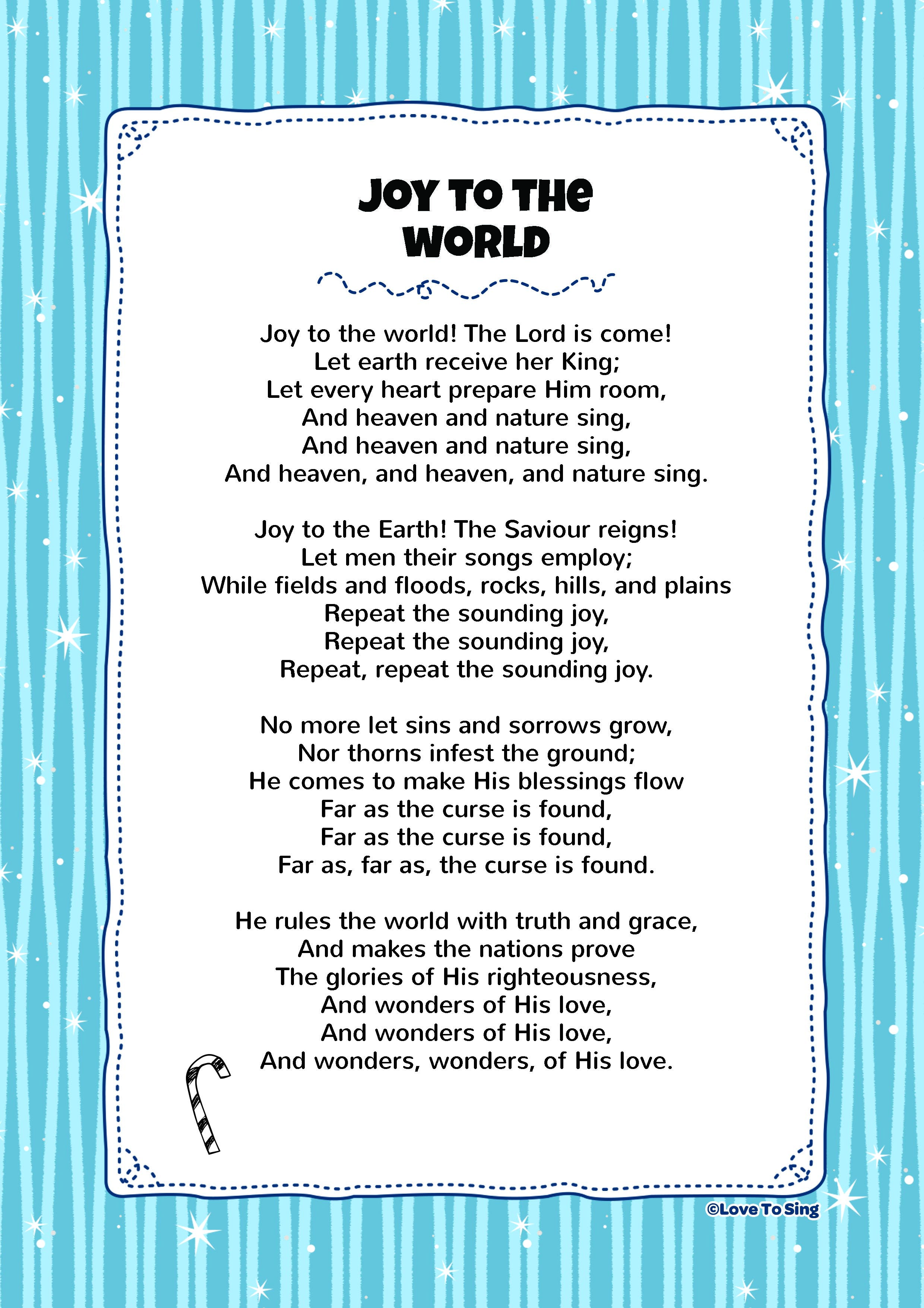 Joy To The World Kids Video Song with FREE Lyrics