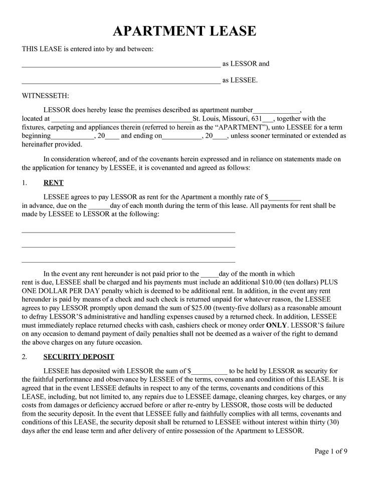 Apartment Lease Agreement| Rental Agreement | All Form Templates