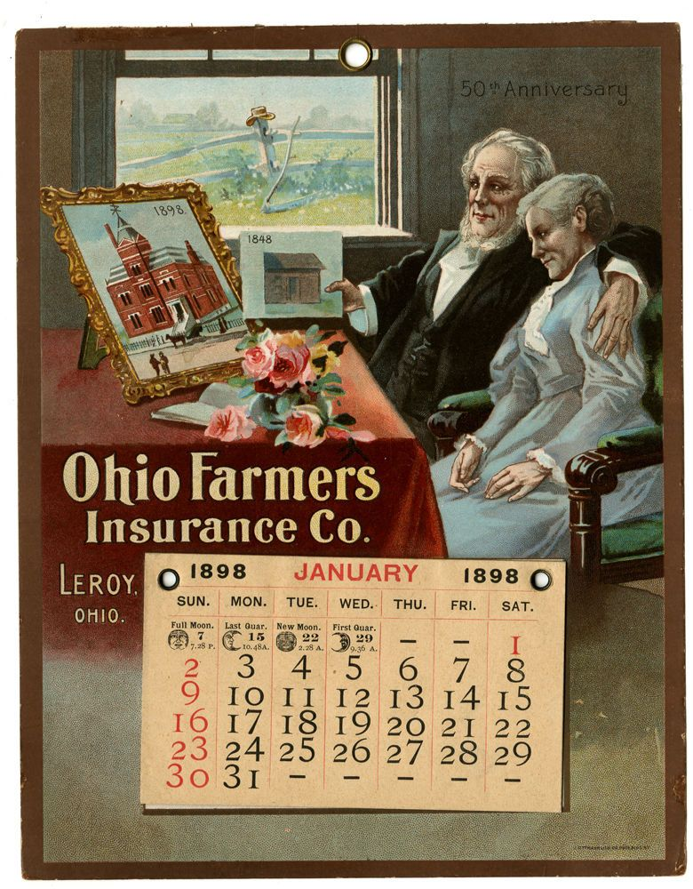 ANTIQUE 1898 CALENDAR OHIO FARMERS INSURANCE CO