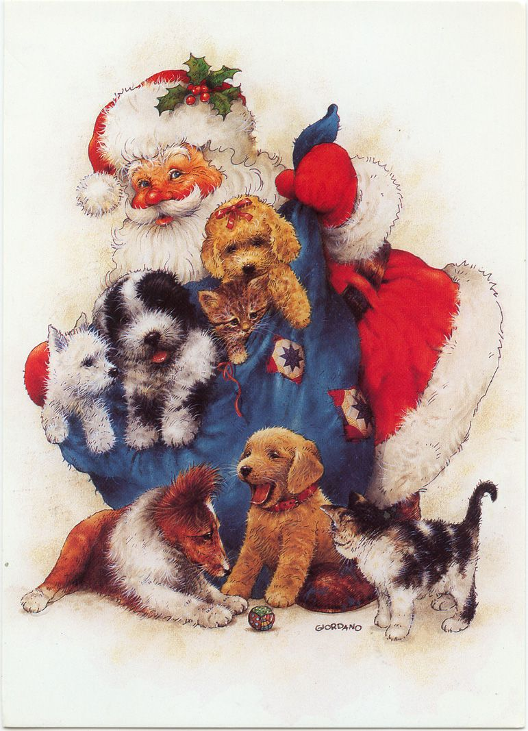 santa with a bag of pups and kitties cute! Christmas