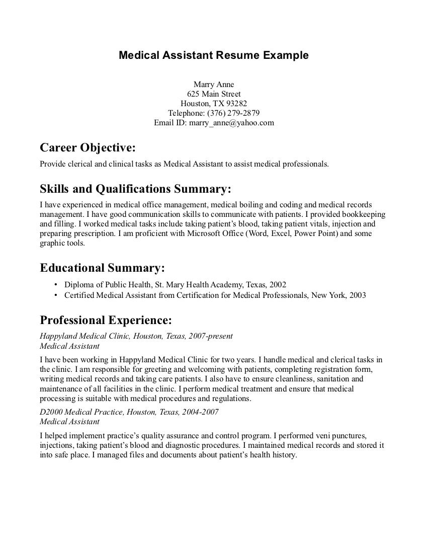 Medical Assistant Resume Graduate http//www
