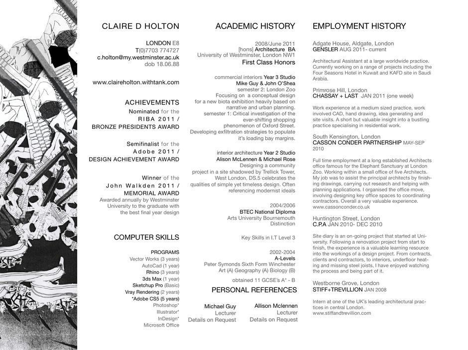 Claire Holton C.V Architect Part 1 Resume Pinterest