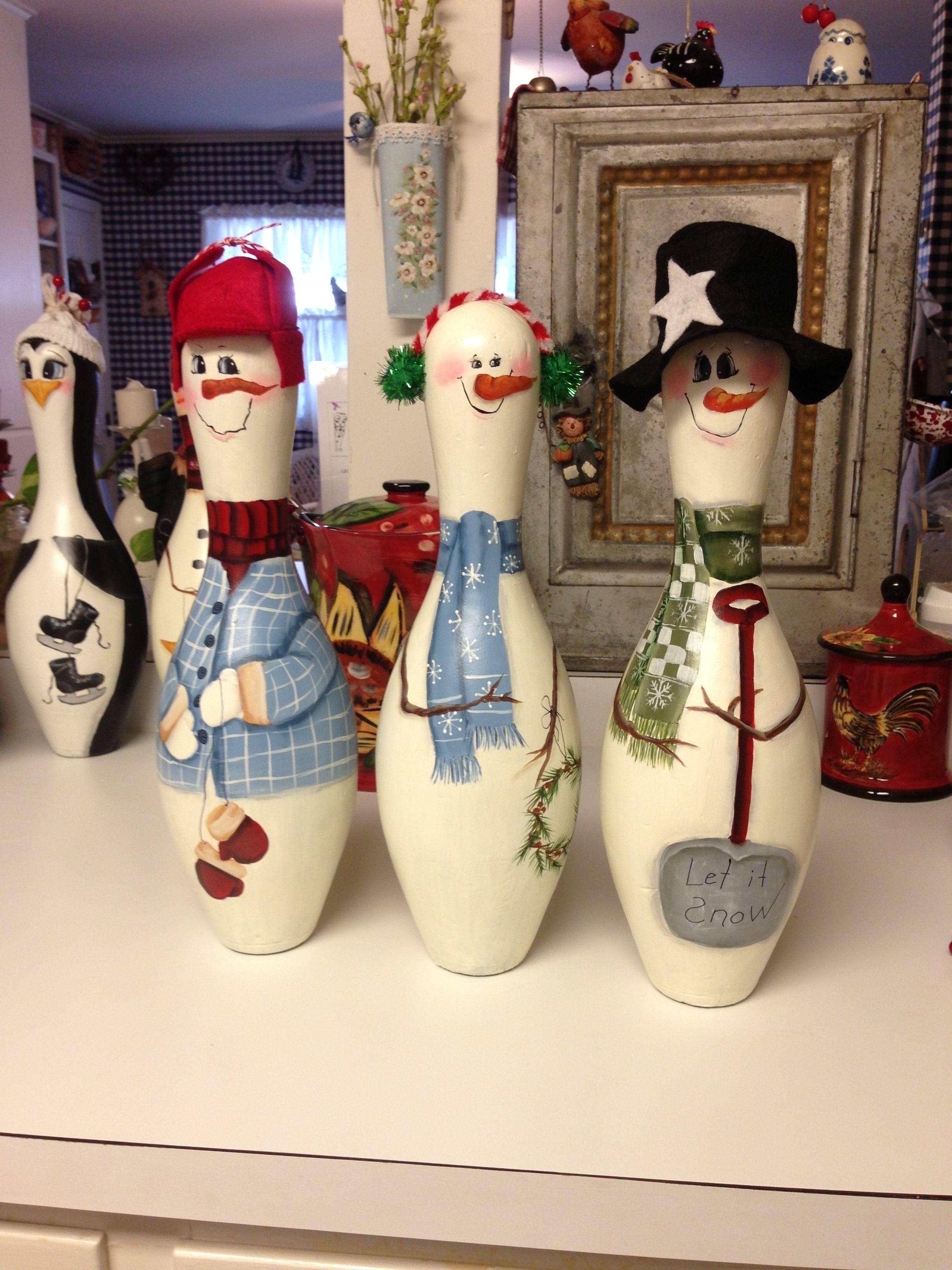 Bowling pin penguins Things Grandma made! ) Pinterest