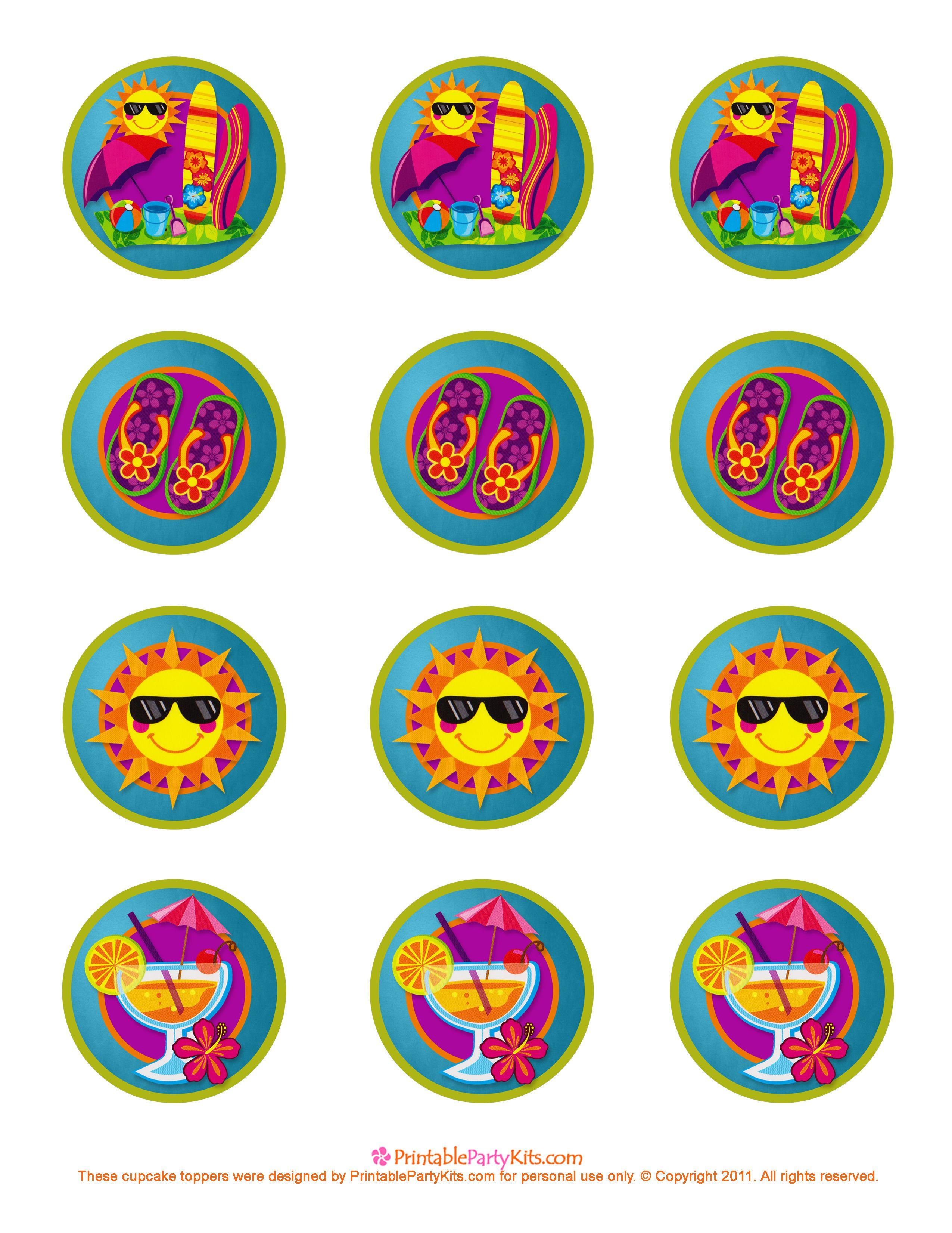 Summer Cupcake Topper Template Parties