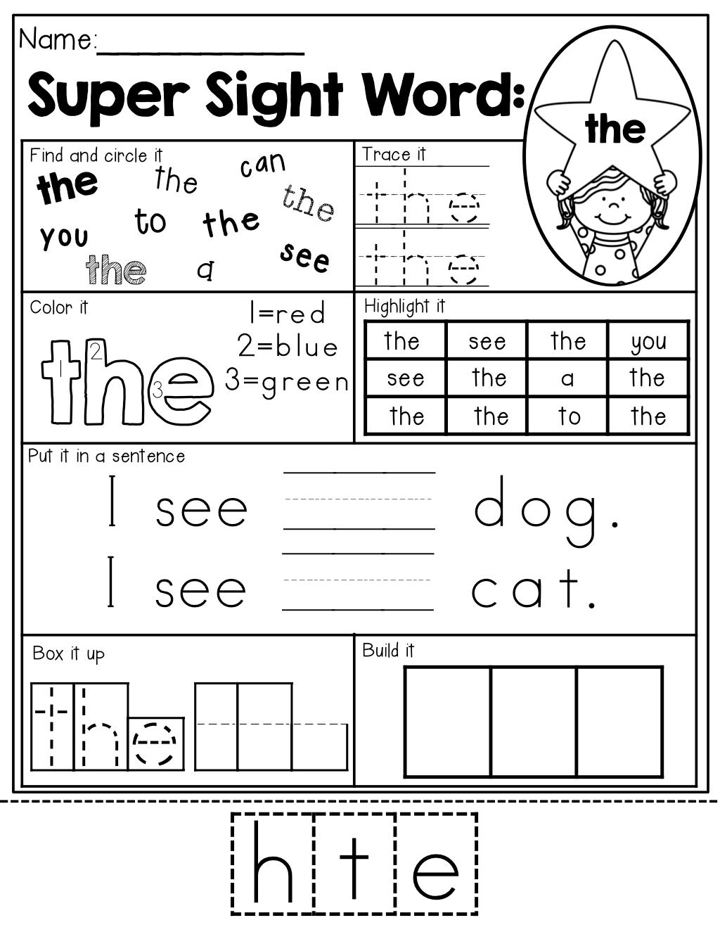 Sight Word Super Stars No Prep Pre Primer Edition