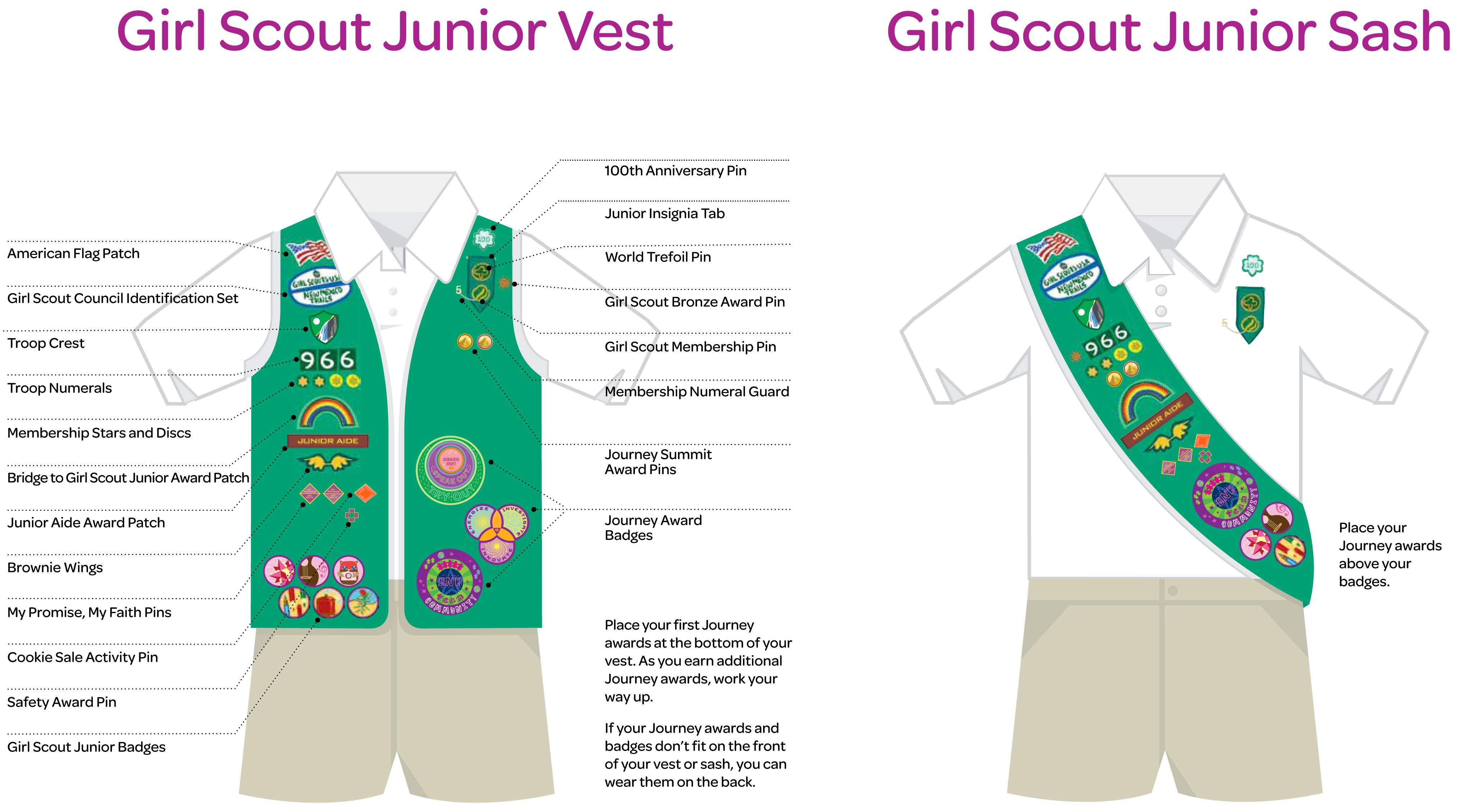 Junior Girl Scout Vest And Sash Layout