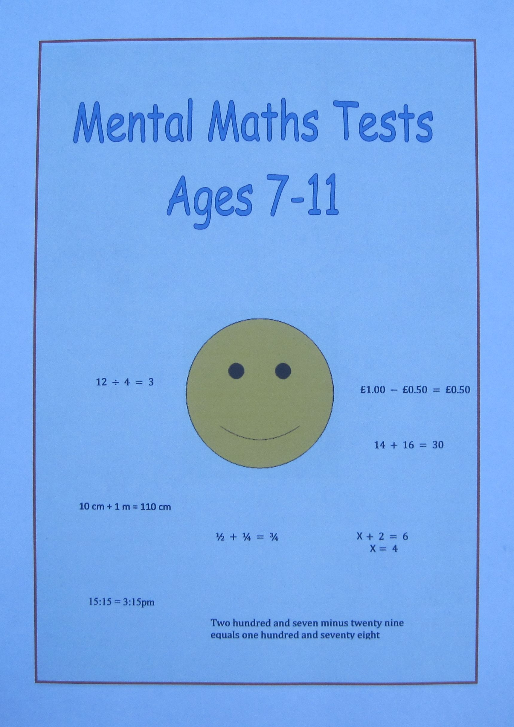 Mental Maths Tests For Each Year Group Aged 7 8 9 10 And 11 Years Old