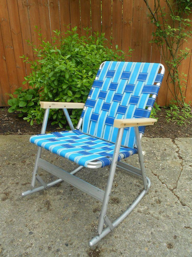 Vintage Webbed Tubular Aluminum Rocker Rocking Lawn Chair