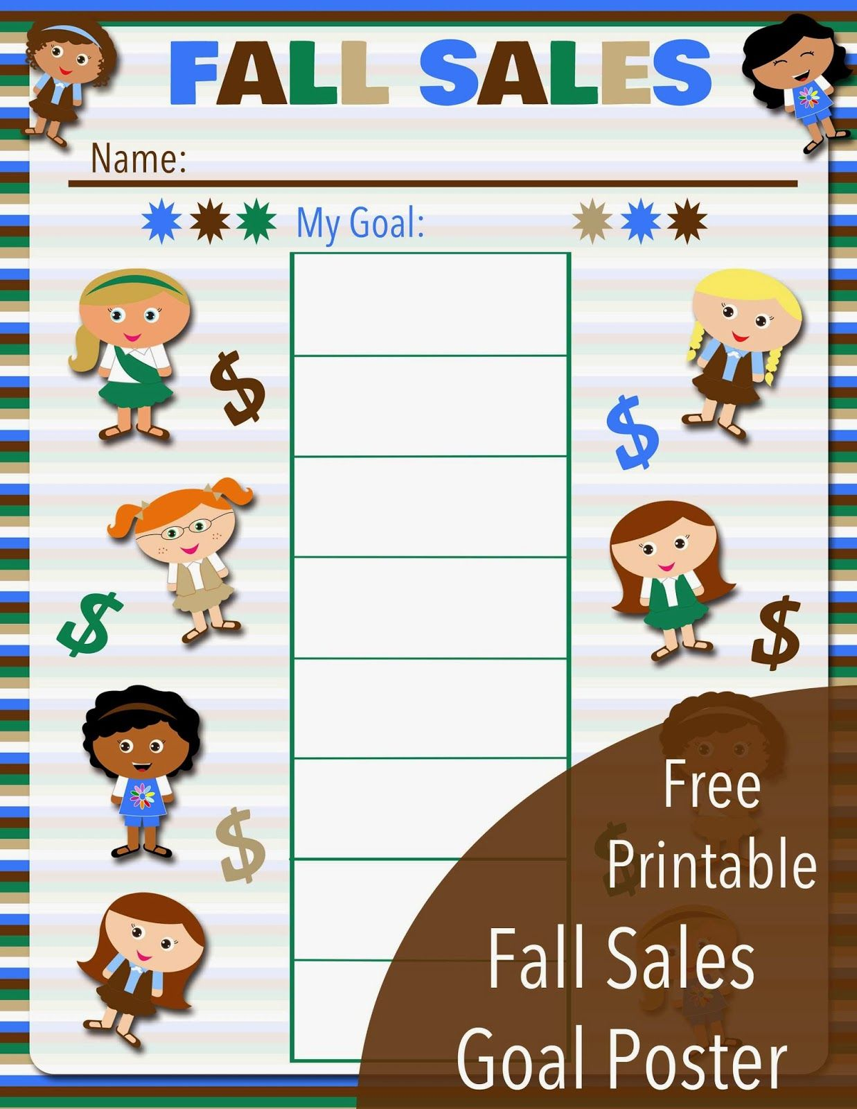 Free Printable Fall Sales Goal Poster For All Levels