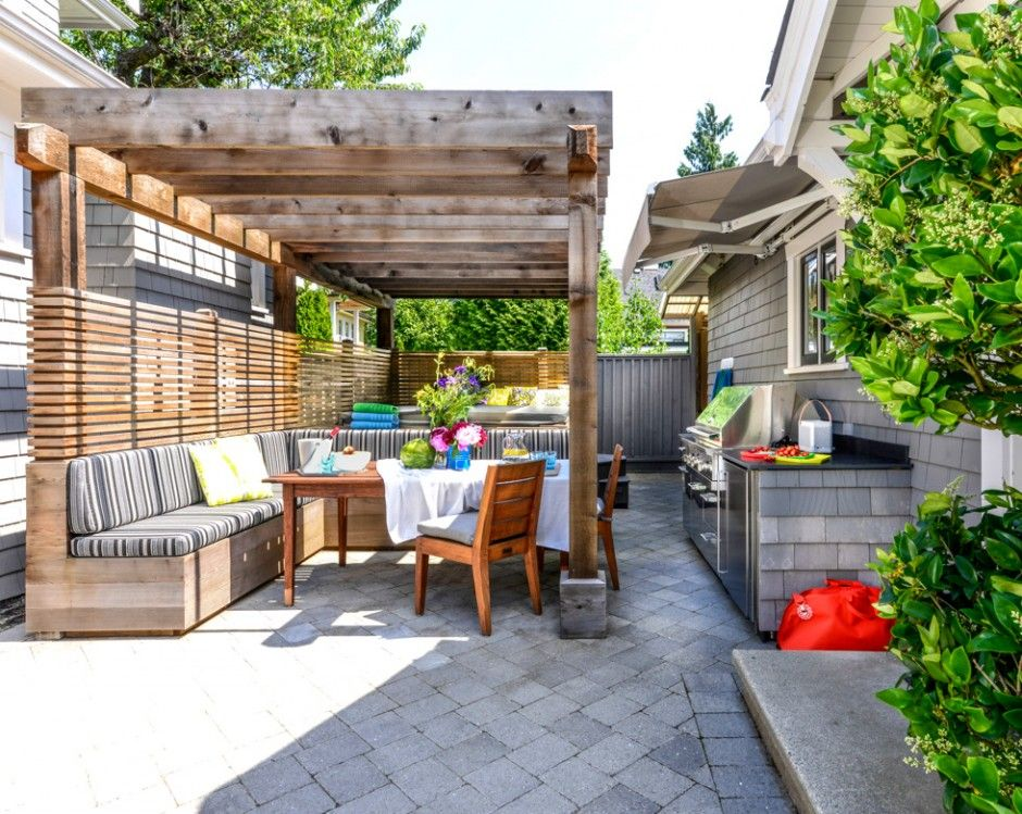 Outdoor Pergola containing eating area and Jacuzzi