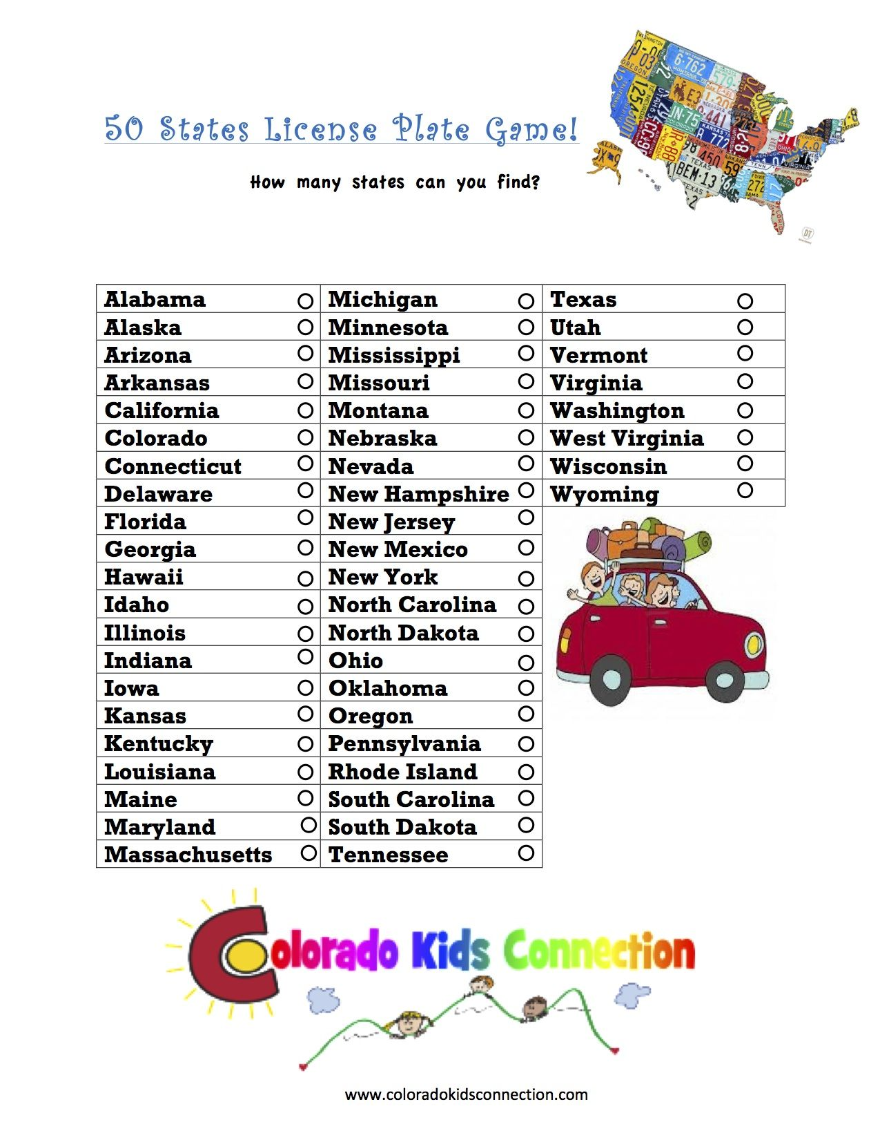 Great Printable Fun Travel Activity For Kids And Teens To Find The Different State License