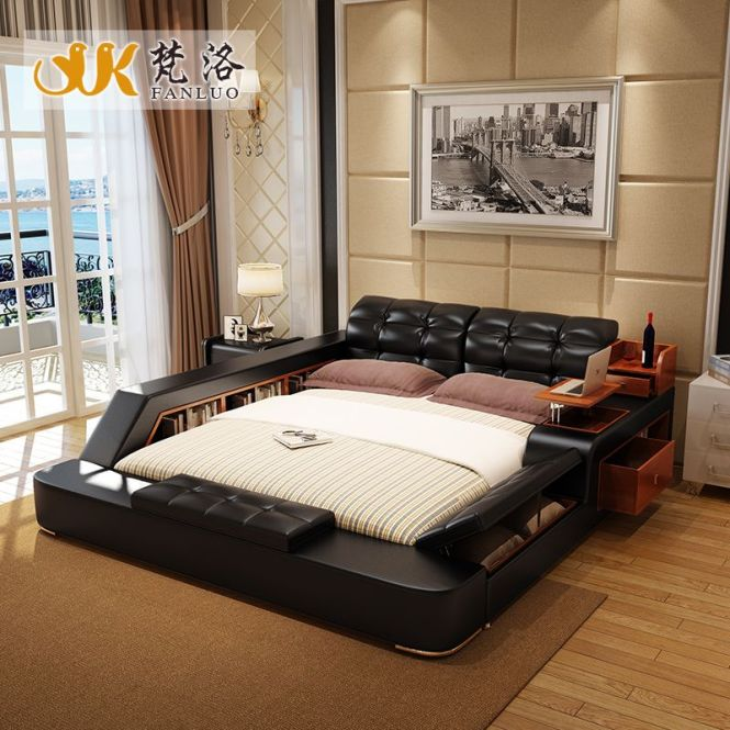 Luxury Bedroom Furniture Sets Modern Leather King Size Double Bed With Side Storage Cabinets Tail Stool No Mattress
