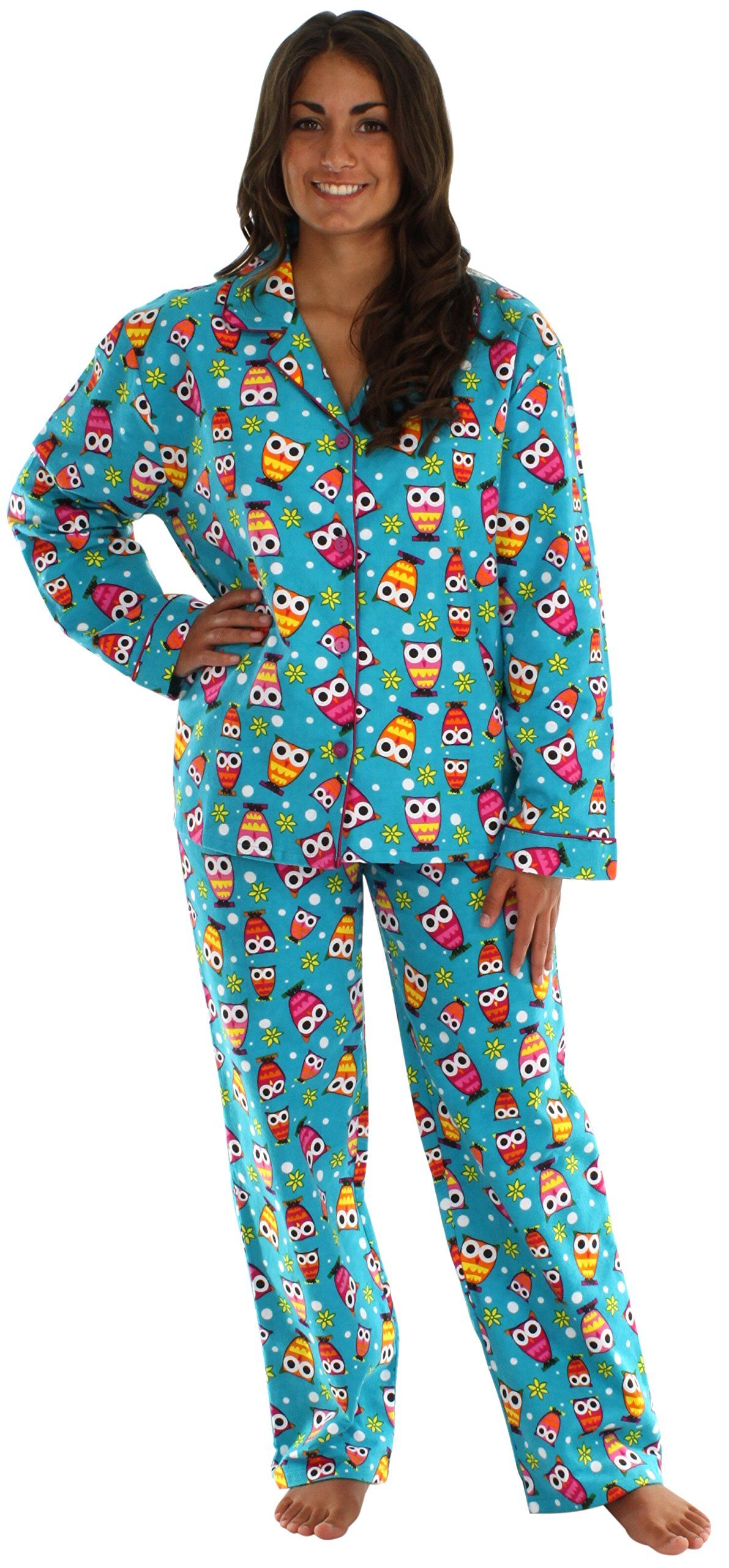 PajamaMania Women's Printed Flannel Pajamas at Amazon