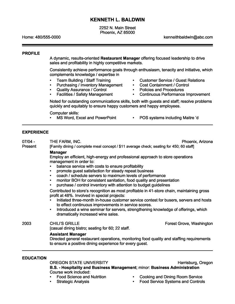 Hospitality Cv Sample from i2.wp.com