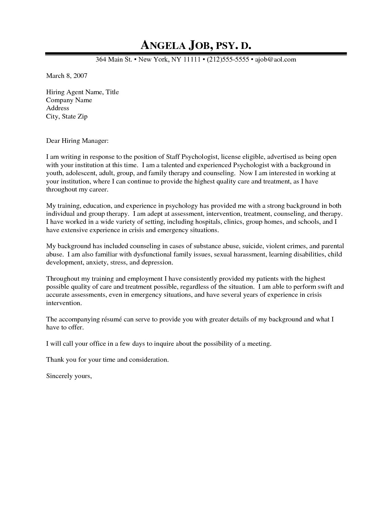 Professional Counseling Cover Letter
