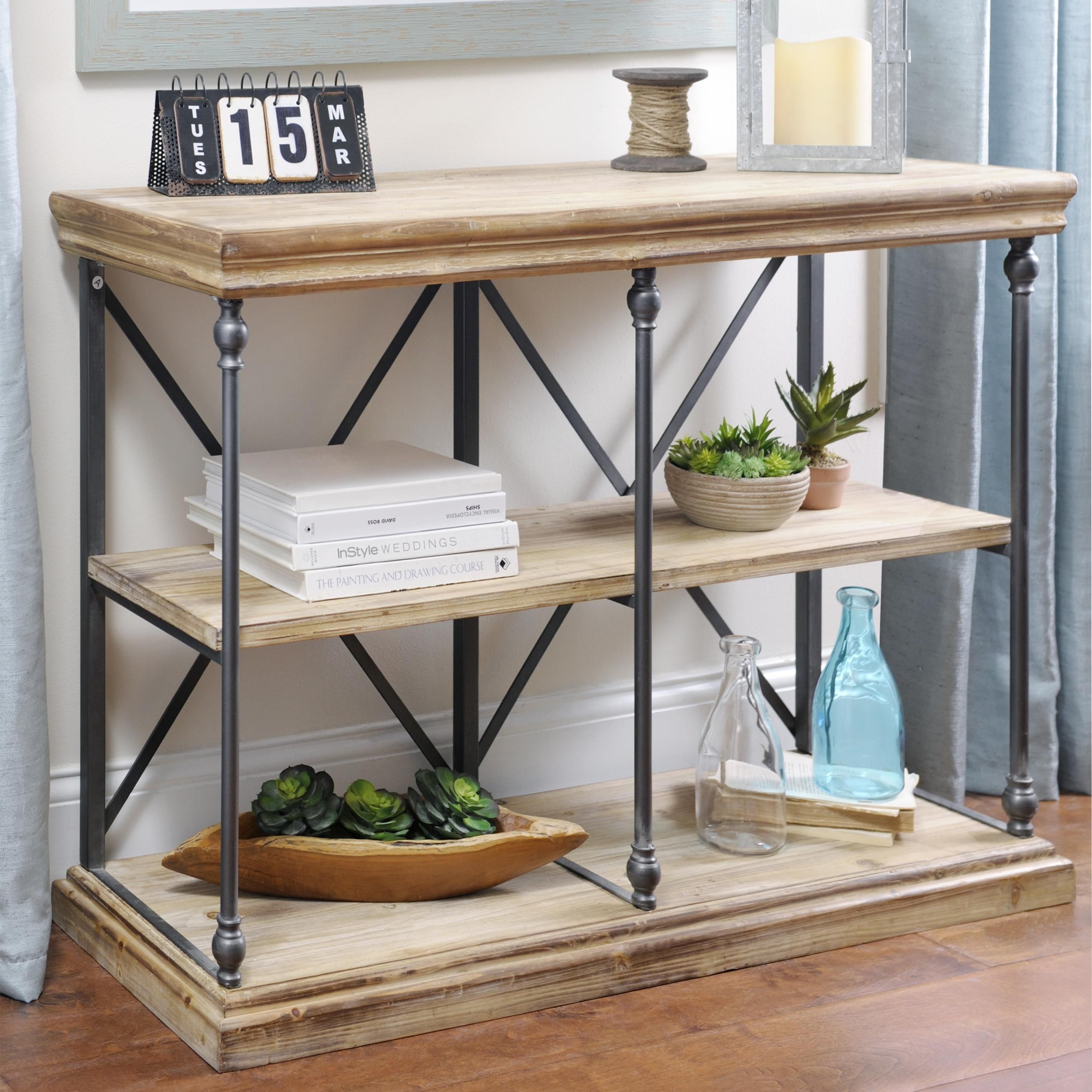 Sonoma TwoTier Console Table Reclaimed wood shelves
