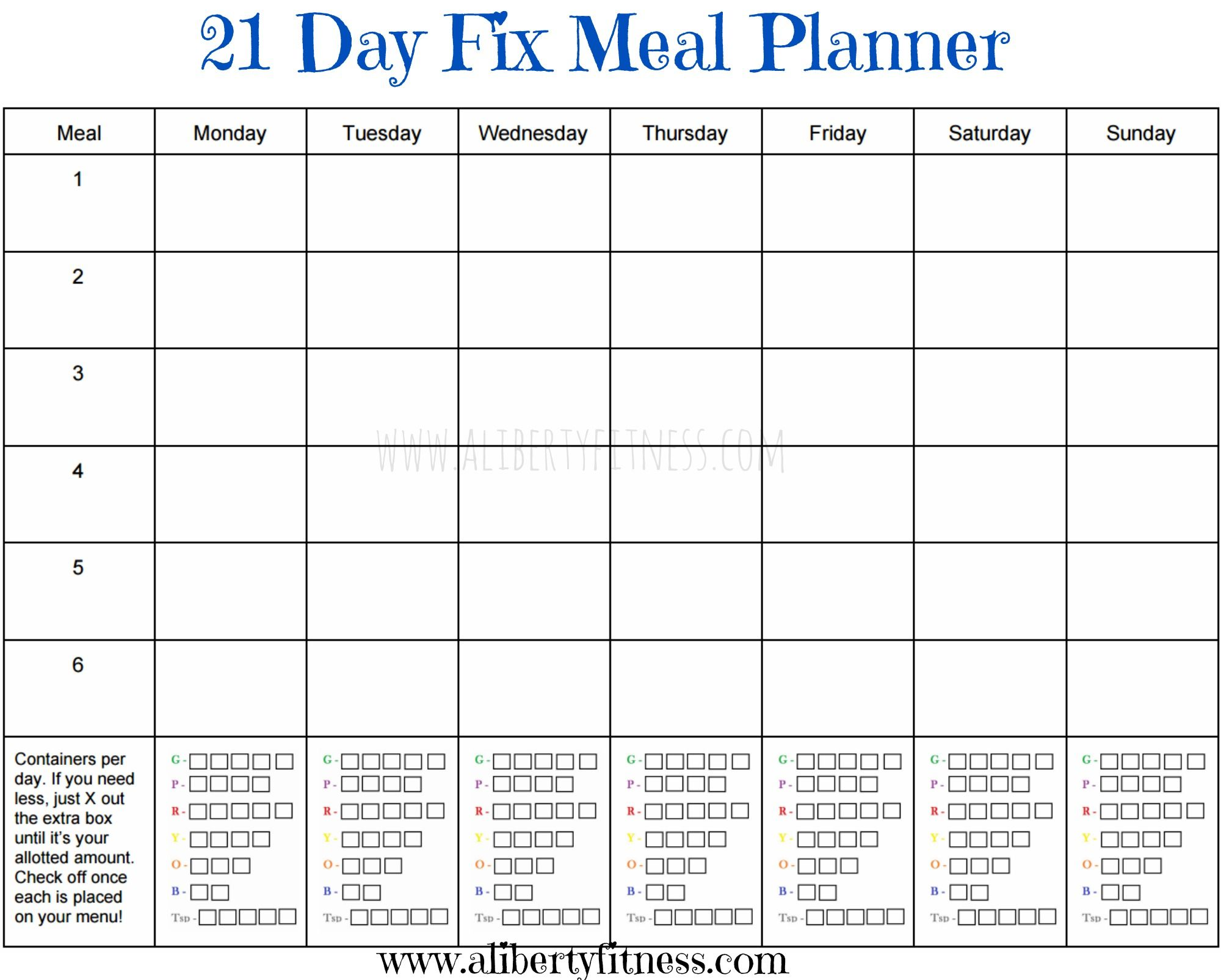 Check Out This 21 Day Fix Blank Meal Planner On This Website
