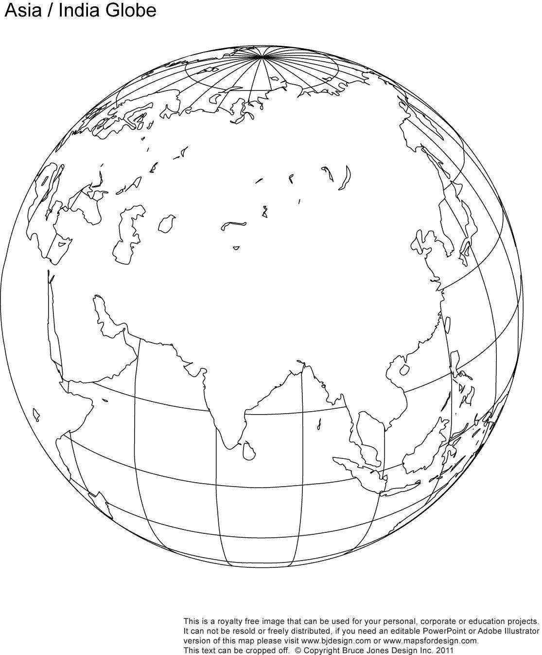 Fill In Asia India Blank Globe Map