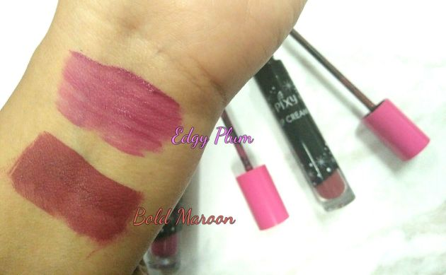 Swatch Pixy Lip Crea, Edgy Plum and Bold Maroon