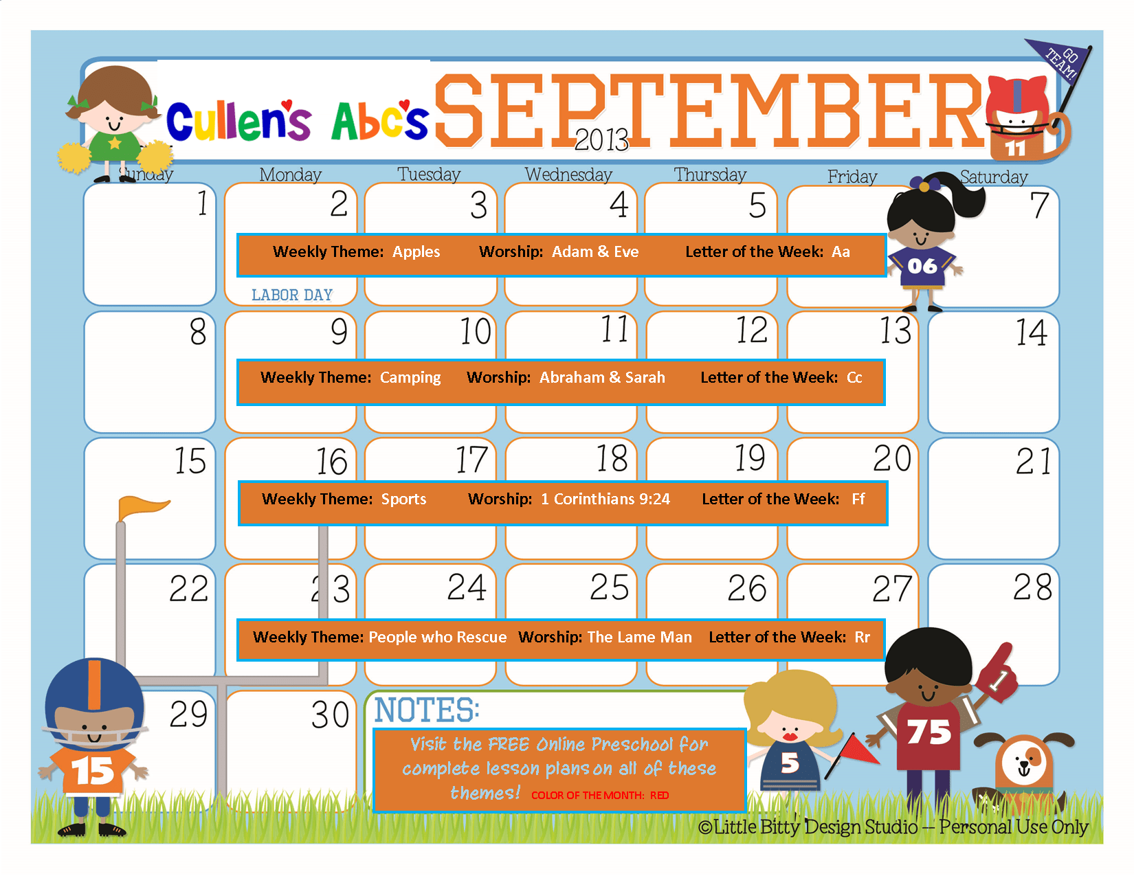 September Online Preschool Calendar