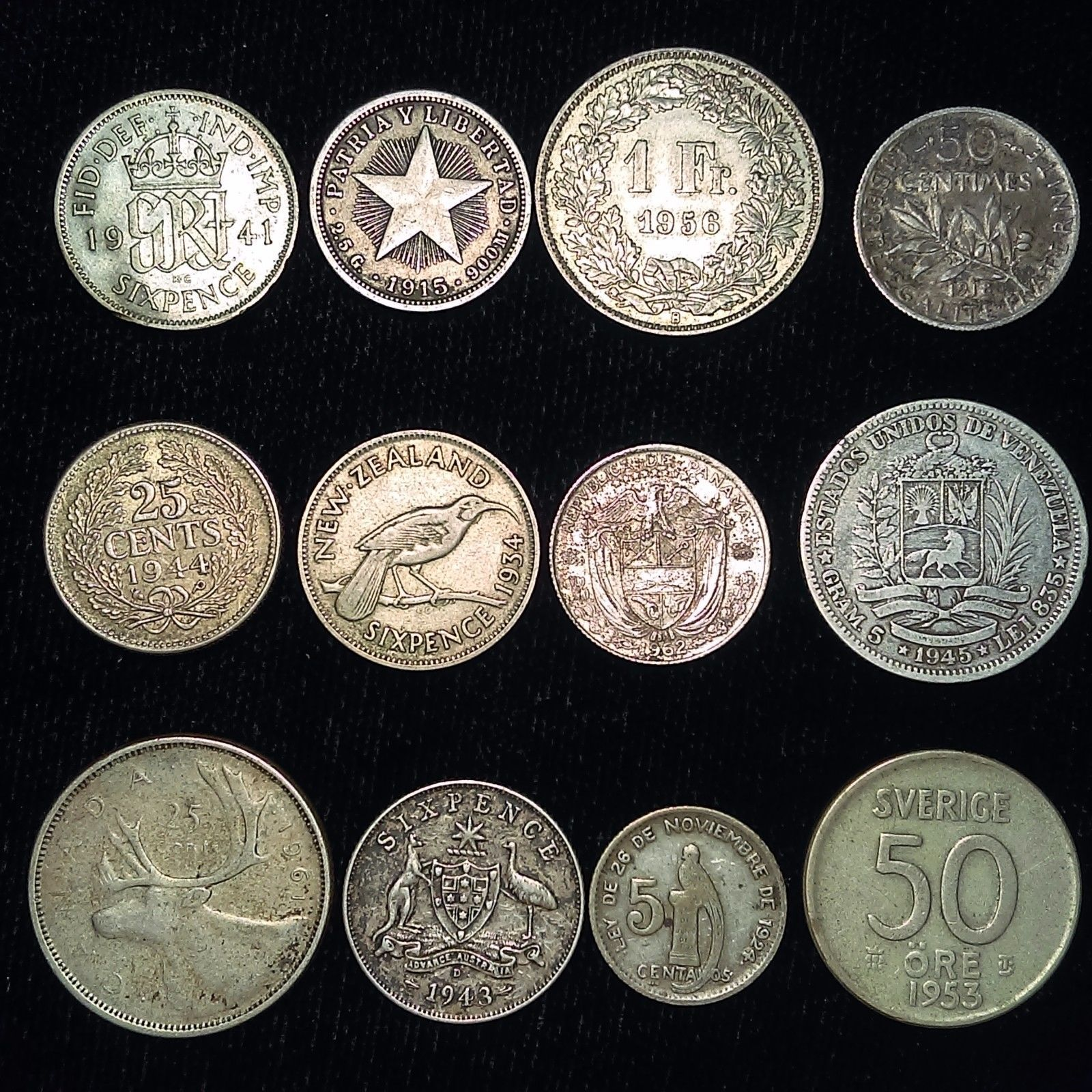 New Post 12 Silver Coin Lot Of Twelve Different Countries All Over 50 Years Old I