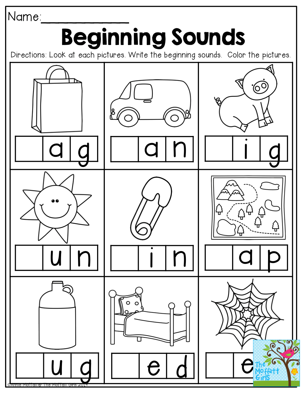 Matching Initial Sounds Preschool Worksheet