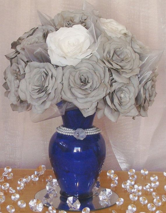 Navy Blue Wedding Centerpiece With Grey And White Handmade