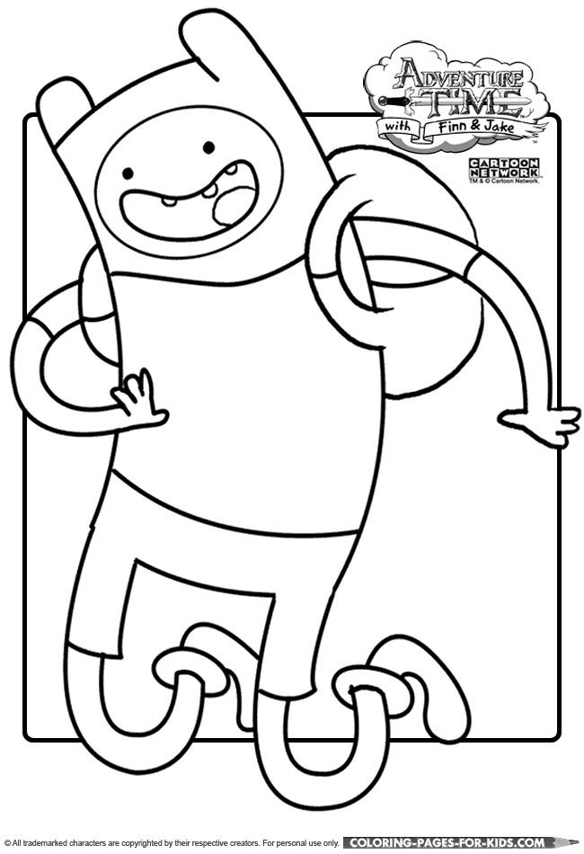 adventure time. finn the human coloring page for kids to